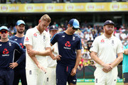 Stuart Broad; Alastair Cook and Jonny Bairstow of England look on during the presentation during day five  of the Fifth Test match in the 2017/18 Ashes Series between Australia and England at Sydney Cricket Ground on January 8, 2018 in Sydney, Australia.
