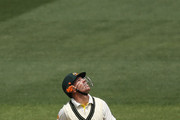 David Warner of Australia looks up after he mishits a shot that is caught by Jonny Bairstow off the bowling of James Anderson of England during day two of the Fourth Ashes Test Match between Australia and England at Melbourne Cricket Ground on December 27, 2013 in Melbourne, Australia.