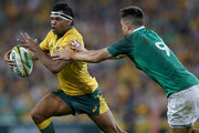 Kurtley Beale of the Wallabies tries to get past Conor Murray of Ireland during the International Test match between the Australian Wallabies and Ireland at Suncorp Stadium on June 9, 2018 in Brisbane, Australia.