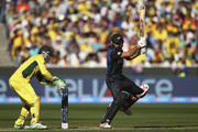 Grant Elliott of New Zealand bats as Brad Haddin of Australia keeps wicket during the 2015 ICC Cricket World Cup final match between Australia and New Zealand at Melbourne Cricket Ground on March 29, 2015 in Melbourne, Australia.