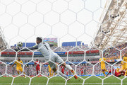 Paolo Guerrero of Peru scores his team's second goal past Mathew Ryan of Australia during the 2018 FIFA World Cup Russia group C match between Australia and Peru at Fisht Stadium on June 26, 2018 in Sochi, Russia.
