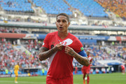 Paolo Guerrero of Peru celebrates after scoring his team's second goal during the 2018 FIFA World Cup Russia group C match between Australia and Peru at Fisht Stadium on June 26, 2018 in Sochi, Russia.