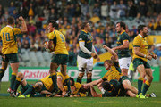 Bernard Foley, Nick Phipps,  Michael Hooper and Adam Ashley-Cooper of the Wallabies celebrate victory at the final whistle as Bryan Habana of the Springboks looks on during The Rugby Championship match between the Australian Wallabies and the South African Springboks at Patersons Stadium on September 6, 2014 in Perth, Australia.