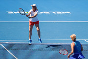 Martina Navratilova (L) of the United States and Daniela Hantuchova of Slovakia competes in their women's doubles match against Alicia Molik of Australia and Barbara Schett of Austria on day nine of the 2018 Australian Open at Melbourne Park on January 23, 2018 in Melbourne, Australia.