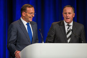Australian Prime Minister Tony Abbott, left, and New Zealand Prime Minister John Key make the opening remarks for the Trans-Tasman 2015 Gala Dinner (an ICC Cricket World Cup function), Canterbury Room, Level 5, Sky City Convention Centre, Federal Street on February 27, 2015 in Auckland, New Zealand. Prime Minister Abbott is on his first official two day visit to New Zealand.