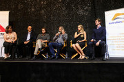 "(L-R) AIF moderator Jenny Cooney,Vince Vaughn, Luke Bracey, director Mel Gibson, Teresa Palmer, Andrew Garfield attend Australians In Film Presents ""Hacksaw Ridge"" Screening and Q&A  at Ahrya Fine Arts Movie Theater on October 21, 2016 in Beverly Hills, California."
