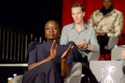 (L-R) Actors Danai Gurira, Tom Hiddleston, and Winston Duke attend the Global Press Conference at the Avengers: Infinity War Press Junket in Los Angeles, CA April 22nd, 2018