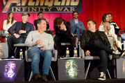 Actor Elizabeth Olsen, President of Marvel Studios and Producer Kevin Feige, actor Mark Ruffalo, Josh Brolin, Robert Downey Jr., Tom Hiddleston, Director Joe Russo,  and actor Zoe Saldana attend the Global Press Conference at the Avengers: Infinity War Press Junket in Los Angeles, CA April 22nd, 2018