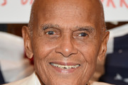 """Singer Harry Belafonte attends as award-winning filmmaker Michael Moore celebrates his Broadway Opening Night in """"The Terms of My Surrender"""" at Belasco Theatre on August 10, 2017 in New York City."""
