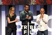 Jurors Amy Berg, Zachary Quinto and Shaul Scwarz present the New Documentary Award onstage during Awards Night during the 2017 Tribeca Film Festival at BMCC Tribeca PAC on April 27, 2017 in New York City.