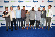 Actor Chris Hardwick, producer Michael Shoemaker, actors Taran Killam, Seth Meyers, guest, Kenan Thompson, Bobby Moynihan, writer Judd Winick, and actor Josh Meyers attend 'The Awesomes' VIP After-Party sponsored by Hulu and Xbox at Andaz on July 20, 2013 in San Diego, California.