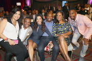 "(L-R)Bernadette Leonard, former boxer Sugar Ray Leonard, Kristen Bellamy, former NFL player Curtis Conway, former Super Middleweight Champion Laila Ali and actor and comedian Bill Bellamy attend B. Riley & Co. And Sugar Ray Leonard Foundation's 6th Annual ""Big Fighters, Big Cause"" Charity Boxing Night at The Ray Dolby Ballroom on May 13, 2015 in Hollywood, California."