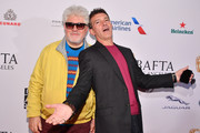(L-R) Pedro Almodóvar and Antonio Banderas attend The BAFTA Los Angeles Tea Party at Four Seasons Hotel Los Angeles at Beverly Hills on January 04, 2020 in Los Angeles, California.