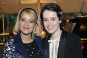 (L-R) Joanna Kulig and Claire Foy arrive at the BAFTA LA Tea Party with Jaguar Land Rover at The Four Seasons Hotel Los Angeles at Beverly Hills on January 05, 2019 in Beverly Hills, California.