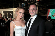Jennifer Lawrence (L) and BAM VP of Development Bill Kramer attend the BAM Gala 2018 honoring Darren Aronofsky, Jeremy Irons, and Nora Ann Wallace at Brooklyn Cruise Terminal on May 30, 2018 in New York City.