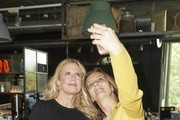 Barbara Schoeneberger (L) and a guest are taking a selfie during a BARBARA Meet & Greet in Berlin at Bikini on September 28, 2018 in Berlin, Germany.