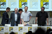 (L-R) Actors Matt Smith,  writer Steven Moffat, David Bradley, Mark Gatiss, and Marcus Wilson speak onstage at BBC America's 'Doctor Who' 50th Anniversary panel during Comic-Con International 2013 at San Diego Convention Center on July 21, 2013 in San Diego, California.