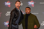 """(L-R) Matthew Morrison and Jordan Banjo attend a photocall for the BBC's """"The Greatest Dancer"""" at The May Fair Hotel on December 10, 2018 in London, England."""