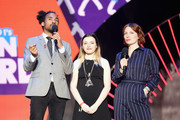 (L-R) Dev Griffin, Teen Hero award winner Charlotte and Alice Levine appear on stage during the BBC Radio 1 Teen Awards 2017 at Wembley Arena on October 22, 2017 in London, England.