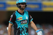 Alex Ross of the Heat leaves the field after being run out during the Big Bash League match between the Brisbane Heat and the Hobart Hurricanes at The Gabba on January 10, 2018 in Brisbane, Australia.