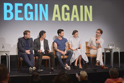 (L-R)  Actor James Corden, actor Mark Ruffalo, singer/actor Adam Levine, actress Keira Knighley, and writer/director attend the 'Begin Again' press conference at Crosby Street Hotel on June 26, 2014 in New York City.