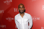 English footballer Jermain Defoe arrives at The (BELVEDERE)RED Party in Cannes featuring Cyndi Lauper at VIP Rooms at The JW Marriott on May 18, 2012 in Cannes, France.  (Photo by Ian Gavan/Getty Images for (BELVEDERE)RED)