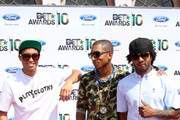 (L-R) Chad Hugo, Pharrell Williams and Shay Haley of N.E.R.D. arrive at the 2010 BET Awards held at the Shrine Auditorium on June 27, 2010 in Los Angeles, California.