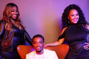 (L-R) Kelly Price, Jonathan McReynolds, and Erica Campbell pose for a portrait during the BET Awards 2019 at Microsoft Theater on June 23, 2019 in Los Angeles, California.
