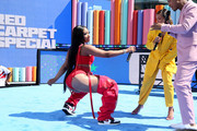 Megan Thee Stallion (L) and Karrueche Tran are seen onstage during the Pre Show at the 2019 BET Awards at Microsoft Theater on June 23, 2019 in Los Angeles, California.