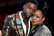 (L-R) Sinqua Walls and Tichina Arnold attend the 2019 Soul Train Awards presented by BET at the Orleans Arena on November 17, 2019 in Las Vegas, Nevada.
