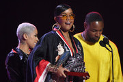 (L-R) Keyshia Cole, H.E.R. and Tank speak onstage at the 2019 Soul Train Awards presented by BET at the Orleans Arena on November 17, 2019 in Las Vegas, Nevada.