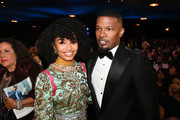 (L-R) Yara Shahidi and Jamie Foxx attend the 51st NAACP Image Awards, Presented by BET, at Pasadena Civic Auditorium on February 22, 2020 in Pasadena, California.