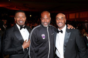 (L-R) Jamie Foxx, Chris Spencer, and guest attend the 51st NAACP Image Awards, Presented by BET, at Pasadena Civic Auditorium on February 22, 2020 in Pasadena, California.