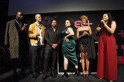(L-R) Terrance Terrell , Mark Tallman, RonReaco Lee, Michelle Buteau, Ryan Michelle Bathe and Tracy Oliver speak on stage at the BET+ red carpet and launch party at NeueHouse Los Angeles on September 19, 2019 in Hollywood, California.