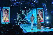 Blogger Dapper Lou and host Kelly Rowland on stage at BET's Rip The Runway 2013:Show at Hammerstein Ballroom on February 27, 2013 in New York City.