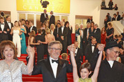 """Penelope Wilton, Steven Spielberg, Ruby Barnhill and Mark Rylance attend """"The BFG (Le Bon Gros Geant - Le BGG)"""" premiere during the 69th annual Cannes Film Festival at the Palais des Festivals on May 14, 2016 in Cannes, France."""
