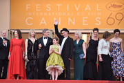 """Frank Marshall, Kathleen Kennedy, Kate Capshaw, Steven Spielberg, Ruby Barnhill, Mark Rylance, Claire van Kampen, Lucy Dahl, Penelope Wilton and Rebecca Hall  attend """"The BFG (Le Bon Gros Geant - Le BGG)"""" premiere during the 69th annual Cannes Film Festival at the Palais des Festivals on May 14, 2016 in Cannes, France."""