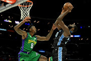 Larry Sanders #8 of the 3 Headed Monsters defends Julian Wright #30 of Power during the BIG3 Championship at Staples Center on September 01, 2019 in Los Angeles, California.