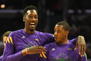 Larry Sanders #8  and Mario Chalmers #15 of the 3 Headed Monsters share a laugh during warm ups for the BIG3 Championship against the Power at Staples Center on September 01, 2019 in Los Angeles, California.