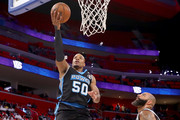 Corey Maggette #50 of Power attempts a shot past Carlos Boozer #5 of the Ghost Ballers during BIG3 - Week Four at Little Caesars Arena on July 13, 2018 in Detroit, Michigan.