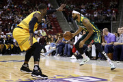 Xavier Silas #5 of the Ball Hogs handles the ball against Stephen Jackson #5 of the Killer 3s in week nine of the BIG3 three-on-three basketball league at KeyArena on August 20, 2017 in Seattle, Washington.