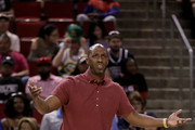 Chauncey Billups of the Killer 3s reacts from the sidelines in the game against the Ball Hogs in week nine of the BIG3 three-on-three basketball league at KeyArena on August 20, 2017 in Seattle, Washington.