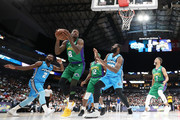 Larry Sanders #8 of the 3 Headed Monsters handles the ball against the Power during week nine of the BIG3 three on three basketball league at American Airlines Center on August 17, 2019 in Dallas, Texas.