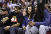 BIG3 co-founder Ice Cube (L) talks with Richard Sherman #25 of the Seattle Seahawks (R) while attending week nine of the BIG3 three-on-three basketball league at KeyArena on August 20, 2017 in Seattle, Washington.