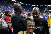 Chauncey Billups #1 of the Killer 3s takes a selfie with a fan during week seven of the BIG3 three on three basketball league at Rupp Arena on August 6, 2017 in Lexington, Kentucky.