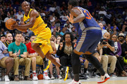 Chauncey Billups #1 of the Killer 3s saves the ball from going out of bounds during the game against 3's Company during week seven of the BIG3 three on three basketball league at Rupp Arena on August 6, 2017 in Lexington, Kentucky.