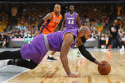 Carlos Boozer #5 of Ghost Ballers attempts to handle the ball against 3's Company during week seven of the BIG3 three on three basketball league at TD Garden on August 3, 2018 in Boston, Massachusetts.
