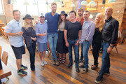 Matthew Hargis, Sandi Spika Borchetta, Jimmy Harnen, Charles Kelley, Hillary Scott, Scott Borchetta, Dave Haywood, Andrew Katz, Allison Jones, Mike Rittberg attend the BMLG Records Signing Of Lady Antebellum at Barcelona Wine Bar Edgehill on September 4, 2018 in Nashville, Tennessee.