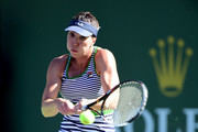 Jelena Jankovic of Serbia hits a backhand in her match against Irina Falconi at Indian Wells Tennis Garden on March 9, 2017 in Indian Wells, California.