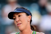Jelena Jankovic of Serbia reacts to a lost point in her losing match to Venus Williams during the BNP Paribas Open at Indian Wells Tennis Garden on March 11, 2017 in Indian Wells, California.